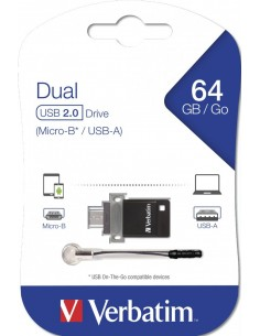 Verbatim Dual Drive - USB-flashstation - 64 GB