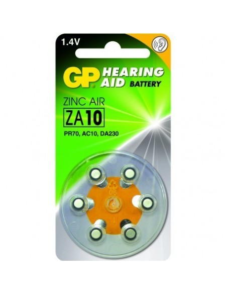 GP Blister 6 piles auditives ZA10 - PR70 - Jaune